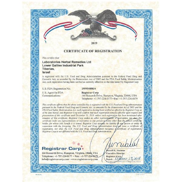 פא-ג'ן Fa-Gen - פורסט אלמנט - לנשירת שיער - אישור משרד הבריאות האמריקאי FDA