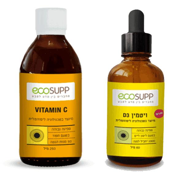 """ויטמין סי 250 מ""""ל + ויטמין די ליפוזומלים – אקוסאפ"""