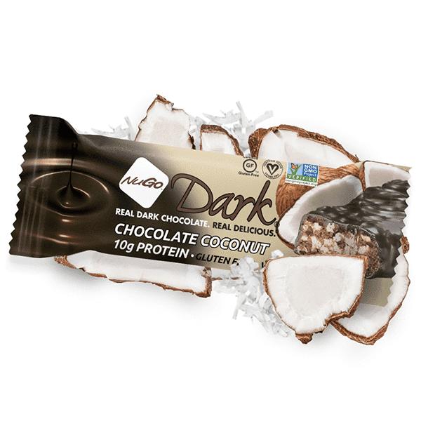 חטיף חלבון בטעם קוקוס מצופה שוקולד מריר- ללא גלוטן - DARK - נוגו